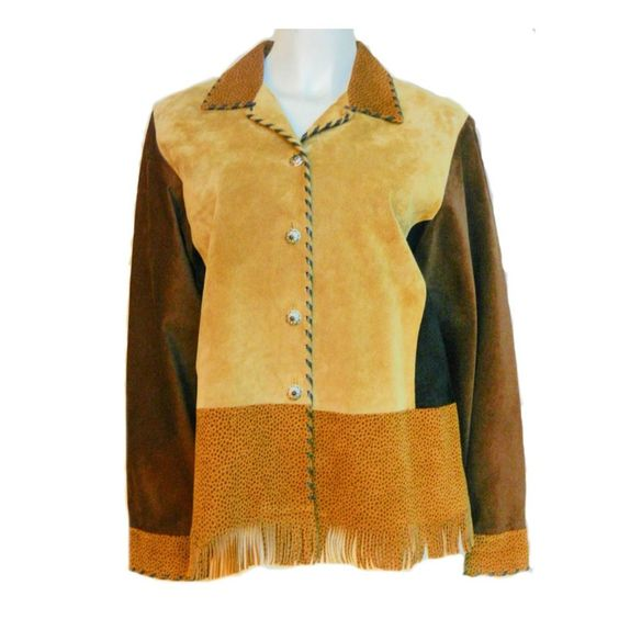 Vintage Women CHAR LEATHER JACKET Brown EastWest HandPaint Fringe Blazer M JT123 #CharSantaFe #BasicJacket