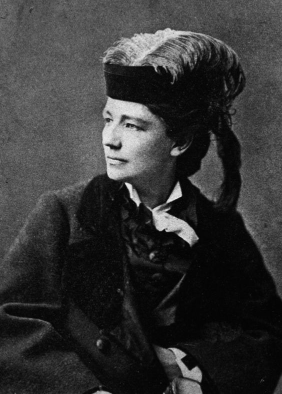 Victoria Woodhull (1838-1927) was suffragette, stock broker, publisher, and the first woman to run for the U.S. presidency. Her early years were spent in a travelling fortune-telling and medicine family show as  a psychic. Later--a divorcee twice over--she operated a brokerage firm on Wall Street with her sister. She also started a reform magazine which argued for equal standards for men and women, mystical socialism, and the legalization of prostitution during the repressive Victorian era.