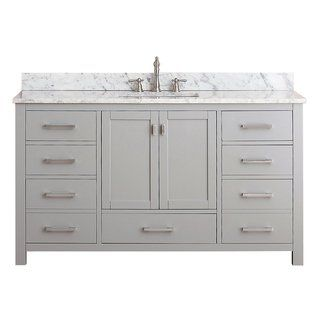Avanity Modero 61 Inch Single Vanity Combo In Chilled Gray With Top And Sink In 2020 Bathroom Vanity Base Single Sink Vanity Bathroom Sink Vanity
