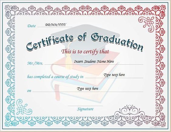 Certificate of Graduation for MS Word DOWNLOAD at http ...
