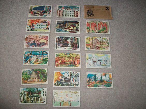 AUNT JEMIMA SET OF 16 FAMOUS RECIPE CARDS OF FAMOUS PLACES~1950s