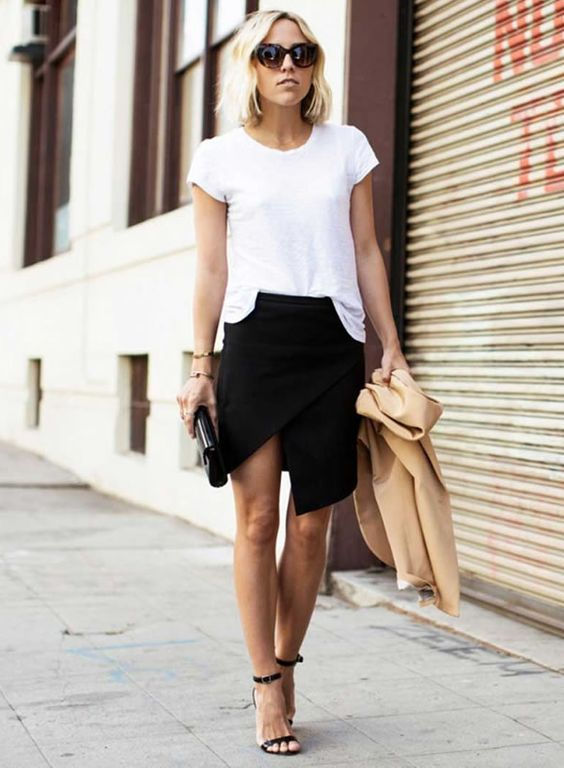 Saia assimétrica white t-shirt: