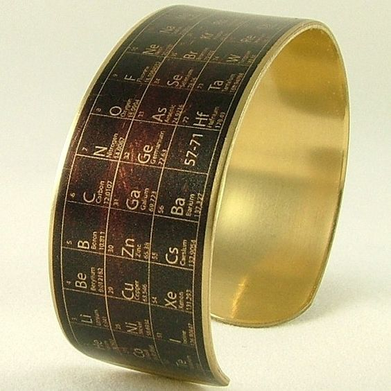 Periodic Table of Elements SLIM Brass Cuff Bracelet - Science Jewelry - Scientist Geek Gifts - Chemistry Jewelry via Etsy