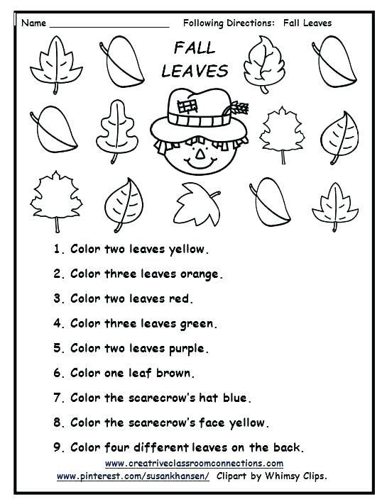 Following Directions Worksheet Fall Kindergarten Follow Directions Worksheet Following Directions