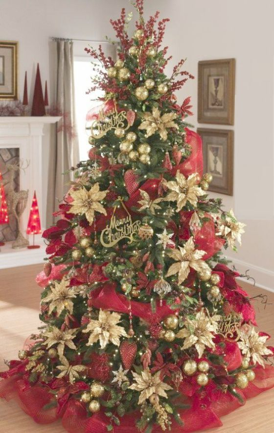 Christmas Room Decoration Ideas Pinterest Although Christmas In July Half Marath Red And Gold Christmas Tree Traditional Christmas Tree Colorful Christmas Tree