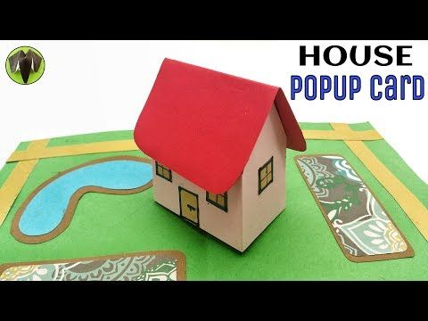 3d House Popup Card Diy Tutorial 902 Youtube Pop Up Greeting Cards Diy Cards Pop Up Cards