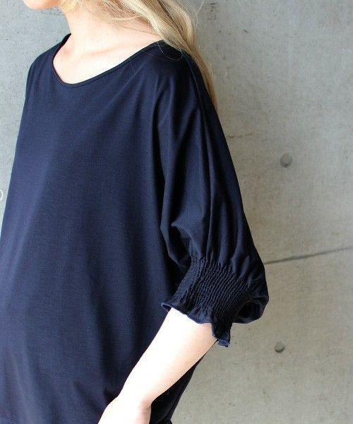 nitca(ニトカ)のクリスタルハーゲージ天竺 シャーリング袖BL(Tシャツ/カットソー)|詳細画像