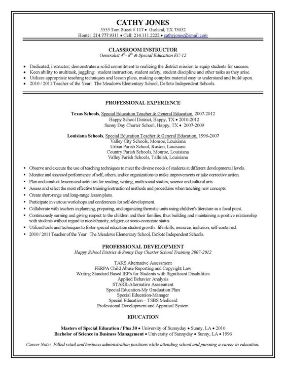 Teacher Resume Sample Teaching Pinterest Teacher Career And Resume Format  For School   Sample Educational Resume