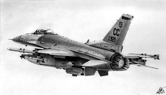 F-16 Drawing - F-16 by Lyle Brown