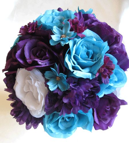 Wedding bouquet bridal silk flowers purple plum turquoise for How are blue roses made