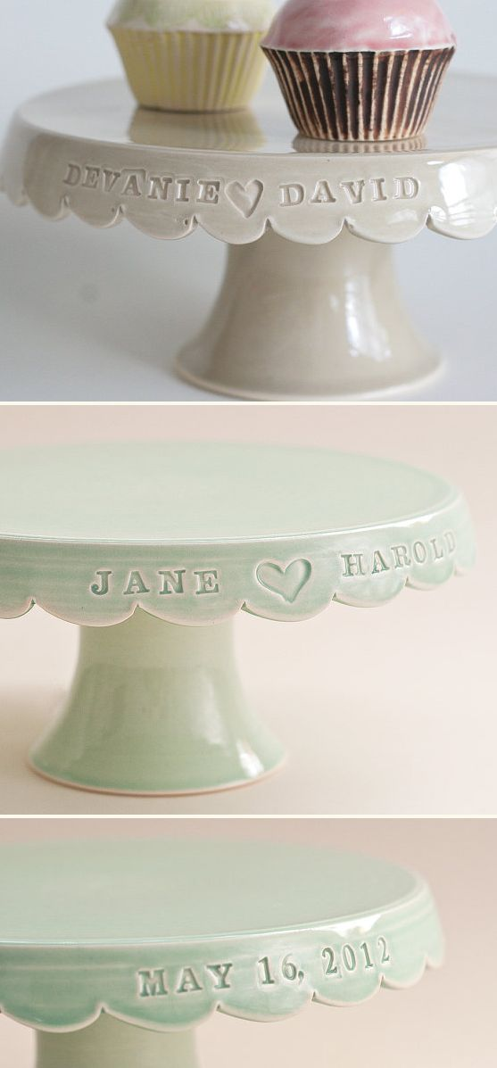 custom wedding cake stands - Love these, if anyone wants to buy us one?!
