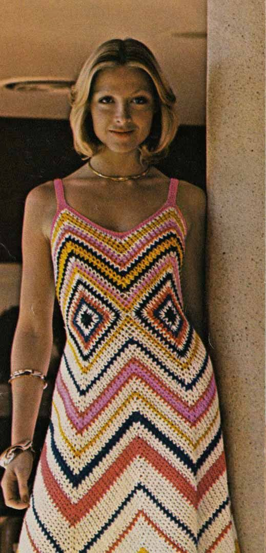 1960s Boho Granny Square Maxi Dress VINTAGE CROCHET ...