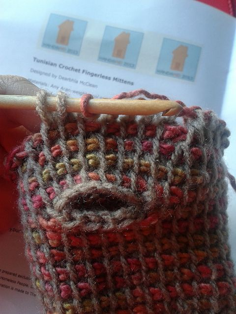 Tunisian Crochet Knit Stitch In The Round : Tunisian Crochet Fingerless Mittens pattern by Undermeoxter Pinterest Pat...