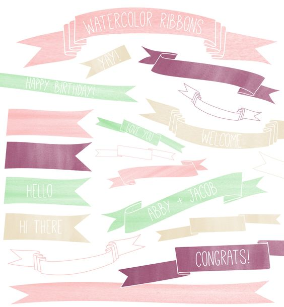 Watercolor Ribbon Clip Art // Instant Download by thePENandBRUSH