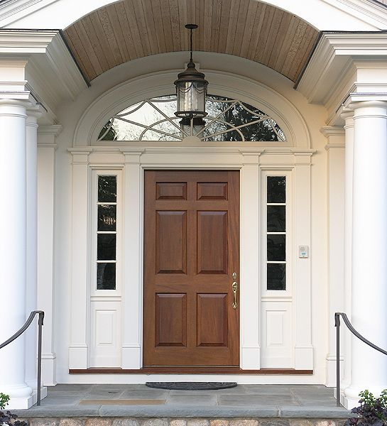 Mahogany Entrance With Custom Transom 6 Panel Door With 4 Lites Over 1 Pane
