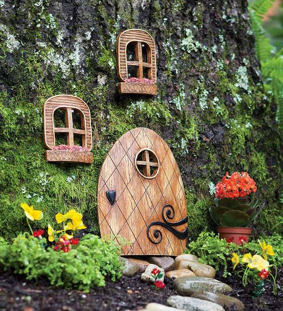 Elf door and windows tree decorations this would be fun for Gnome doors for trees