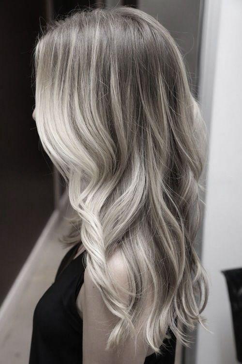 Silver grey ombre.