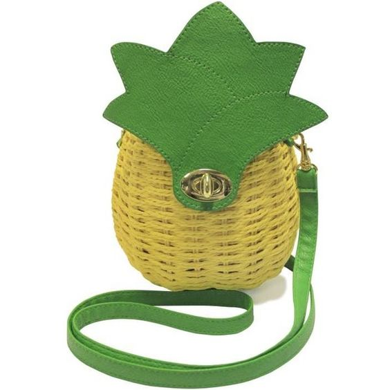 Pineapple Wicker Bag ($51) ❤ liked on Polyvore featuring bags, handbags, green bags, green purse, green handbags and pineapple bag