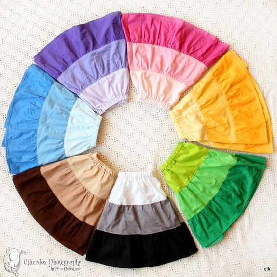 Girls Skirt  Color Wheel Pick Your Size 12/18m 2T/3T by elkdresses, $24.00