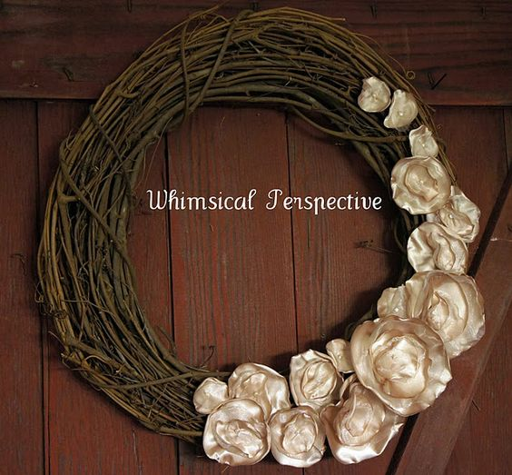 twig and cream wreath
