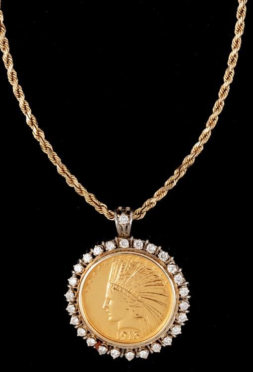 Extremely Appealing 1915 Ten Dollar Gold Piece On Rope Chain Surrounded By A Dimond Bezel Totaling 3 Carats Very Attractive Jewelry Gold Coin Necklace Necklace