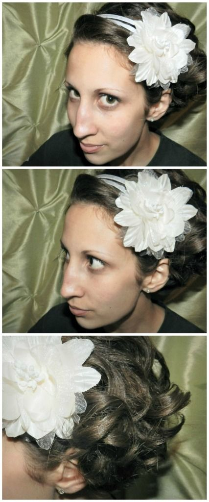 Short curly hairstyle with flower headband