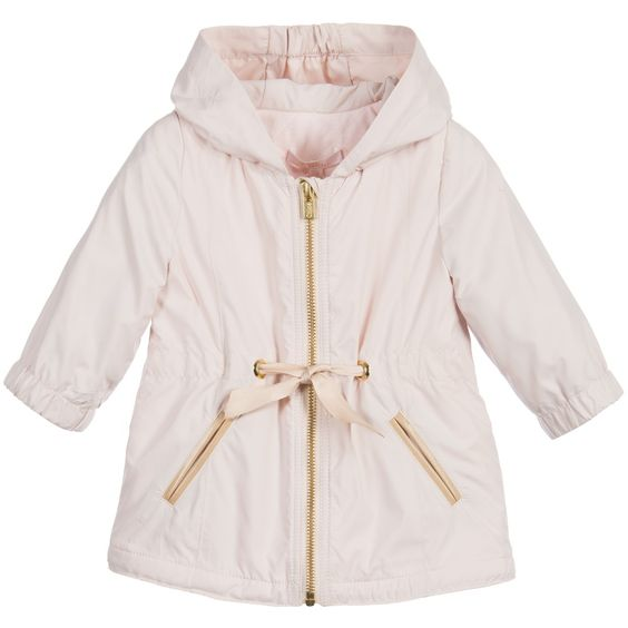 Baby Girls Pale Pink Lightweight Coat with Hood | Coats Logos and