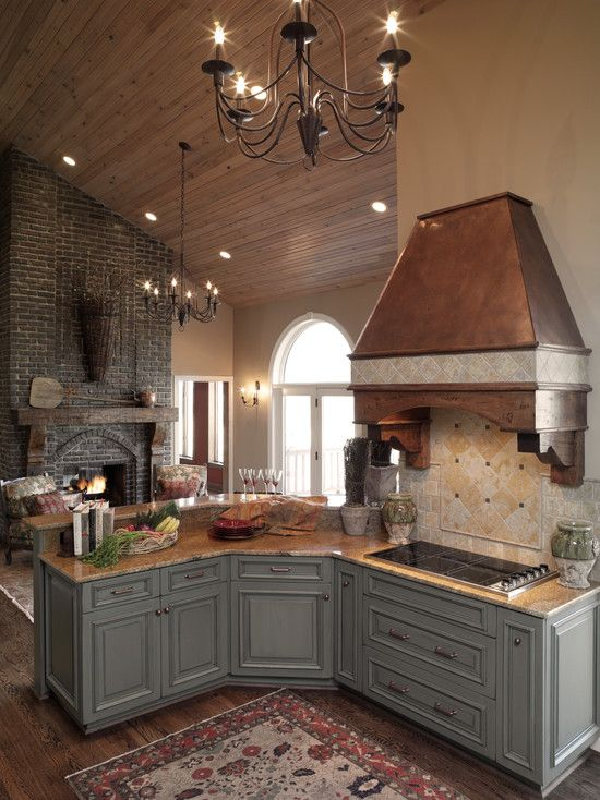 Brick Fireplaces Design, Pictures, Remodel, Decor and Ideas - page 28    love cabinet paint color