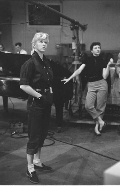 """Doris Day in the studio recording """"A Woman's Touch"""" for Calamity Jane, 1953."""