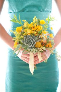 As you plan your wedding flowers, don't be afraid to have some fun with your bridal bouquet and bridesmaid bouquets! Simple bouquets can benefit greatly from a little variety - like adding cut succulents, craspedia and a mixture of fresh cut greens including solidago and seeded eucalyptus.