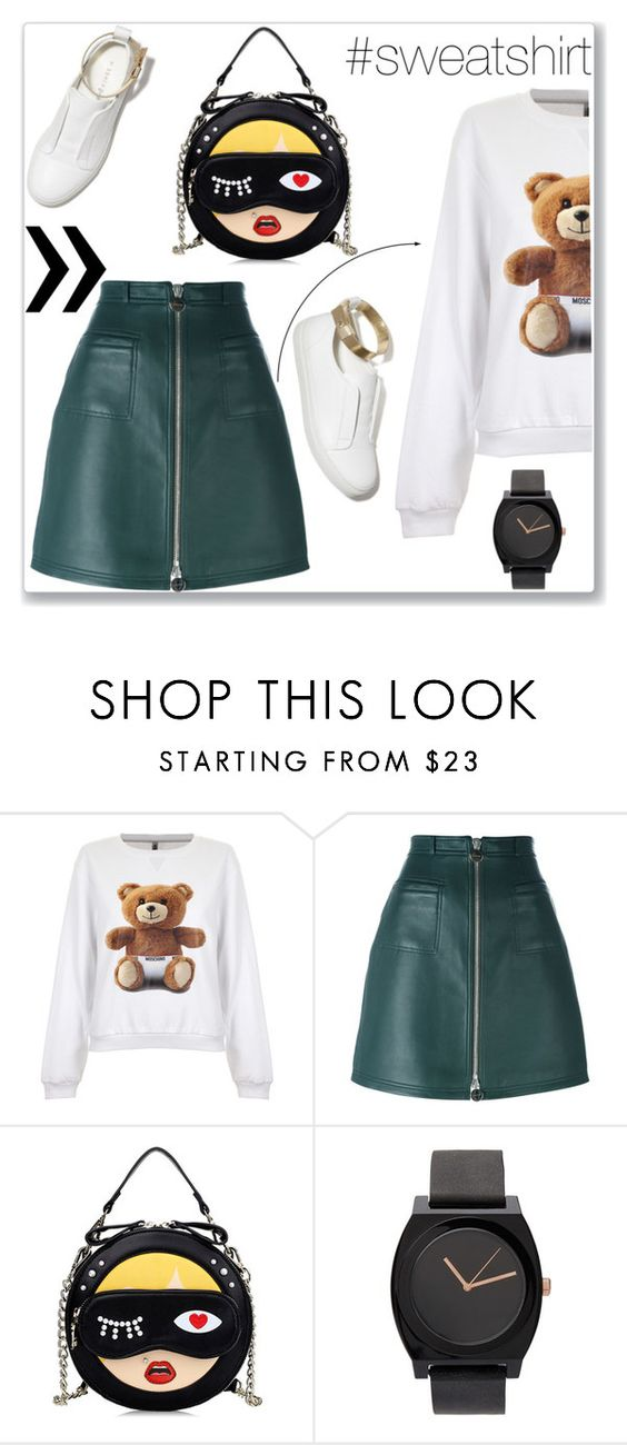 """#sweatshirt"" by mojosoignee ❤ liked on Polyvore featuring Moschino, Carven and M. Gemi"