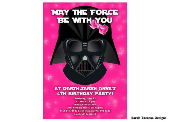 STAR WARS Darth Vader Girls Pink Birthday Party Invitation by sarahtacoma, $18.00