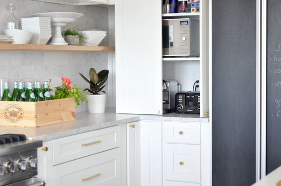 Hidden Microwave Cabinet { And Toaster