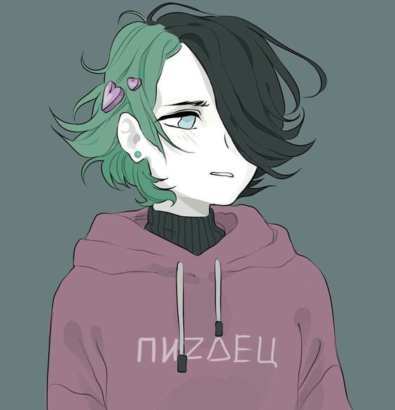 Girl Woman Pale Green Hair Eyes Anime Art Aesthetic Art Cute Art