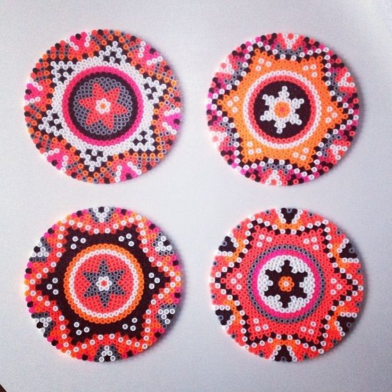 Hama perler bead coasters: