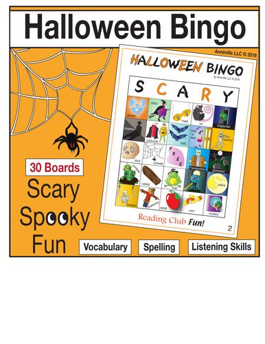 HALLOWEEN BINGO FUN -This high-quality bingo game offers a fun, active way to foster spelling, vocabulary, and listening skills. Includes: • 30 different playing boards • 50 calling cards with illustrations, vocabulary words and the letter of the column they are in • Quick Look Key – laminate and mark off to keep track of what cards were called. Helps to quickly verify winners. • BONUS: Free Halloween word search puzzle to warm kids up on the vocabulary used in the bingo game