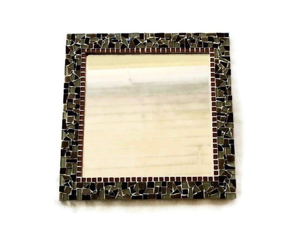 Brown Mosaic Mirror by GreenStreetMosaics on Etsy, $75.00