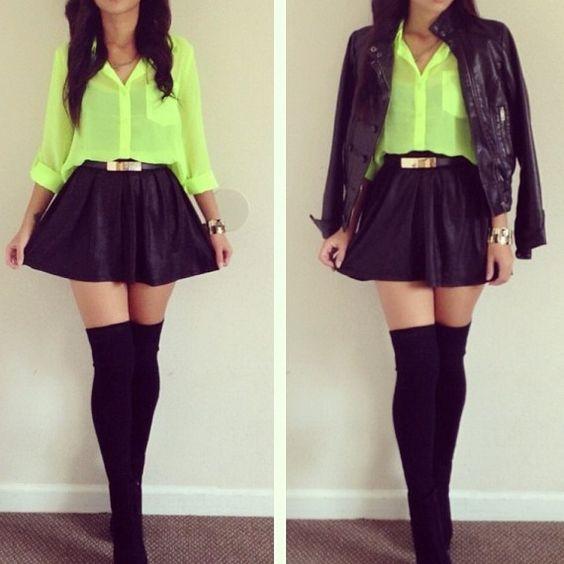 neon chiffon top skater skirt thigh high socks looks i