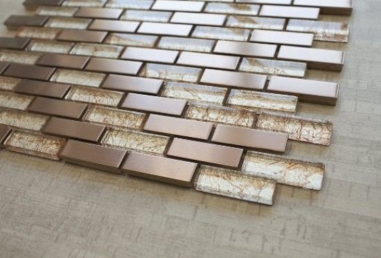 Bronze Metal Bronze Galaxy Glass 5 8 X 1 7 8 Mosaic Tile