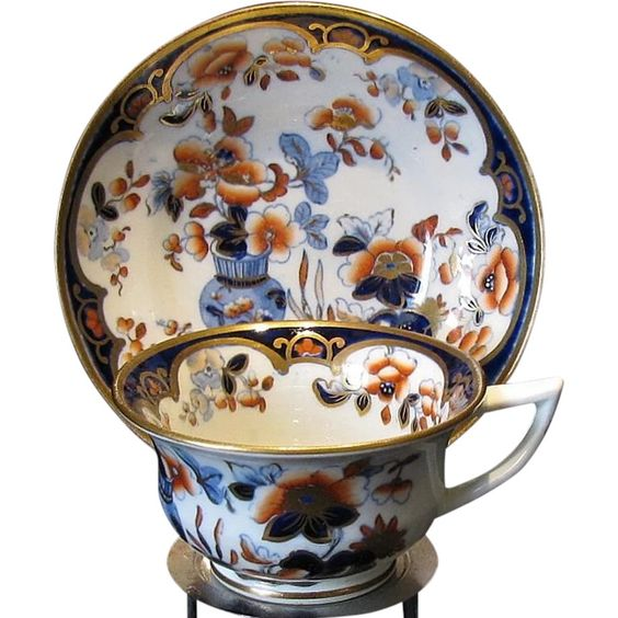 Rare Joseph Machin Cup and Saucer,  English Imari Porcelain, Antique Early 19th Century, Staffordshire, England. English fine bone China teacup & saucer.