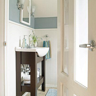 Glass paneled door helps keep the light flowing.