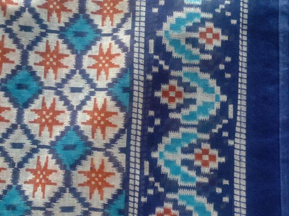 Indian Cotton Blue Turquoise Brown Cream Fabric Ikat by RaajMa, $8.00