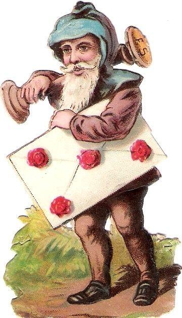Oblaten Glanzbild scrap die cut chromo Zwerg  8,2cm Gnom dwarf Wichtel: