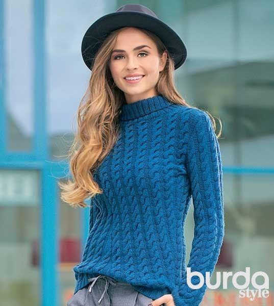 связанный свитер косами схема