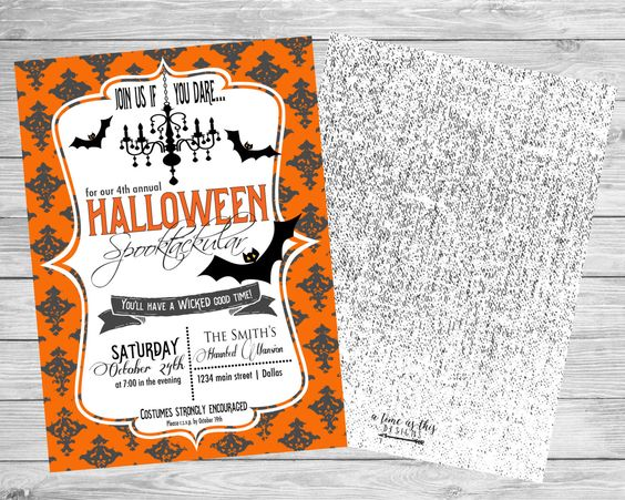 Halloween Party Invitation by ATimeAsThisDesigns on Etsy https://www.etsy.com/listing/250433186/halloween-party-invitation