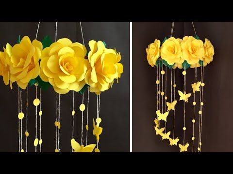 Paper Rose Flower Wall Hanging Home Decor Ideas Youtube In 2020 Hanging Flower Wall Paper Roses Flower Diy Crafts