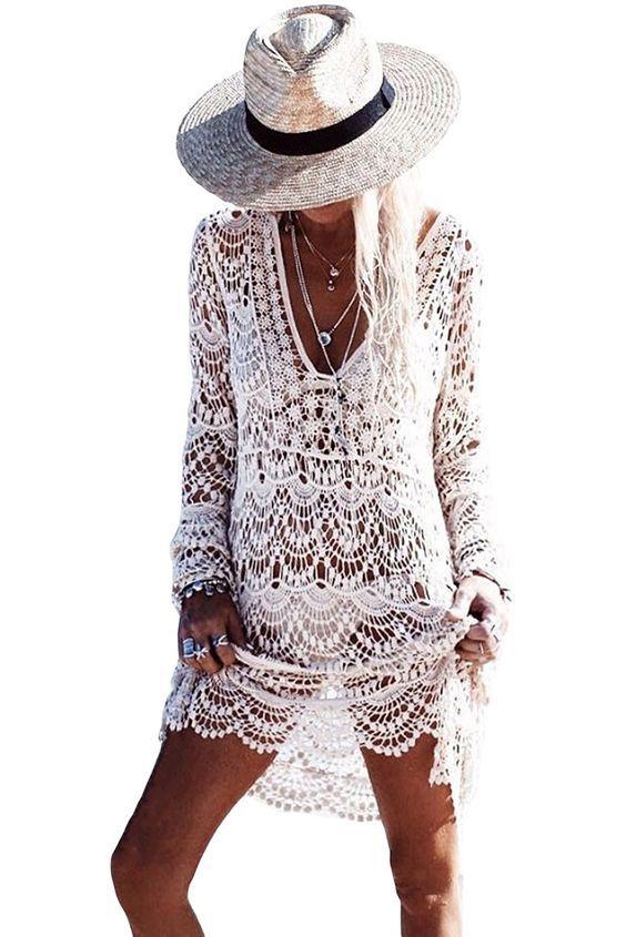 Beach Cover Up Crochet Bikini Tassel Cover Ups Bathing Suit Swimwear Dress