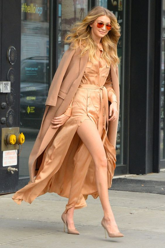 Out and about in New York wearing a Self-Portrait silk dress, matching Kurt Geiger shoes and a Topshop camel coat.