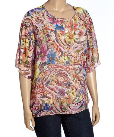 Another great find on #zulily! Light Pink & Blue Floral Cape-Sleeve Top - Plus #zulilyfinds