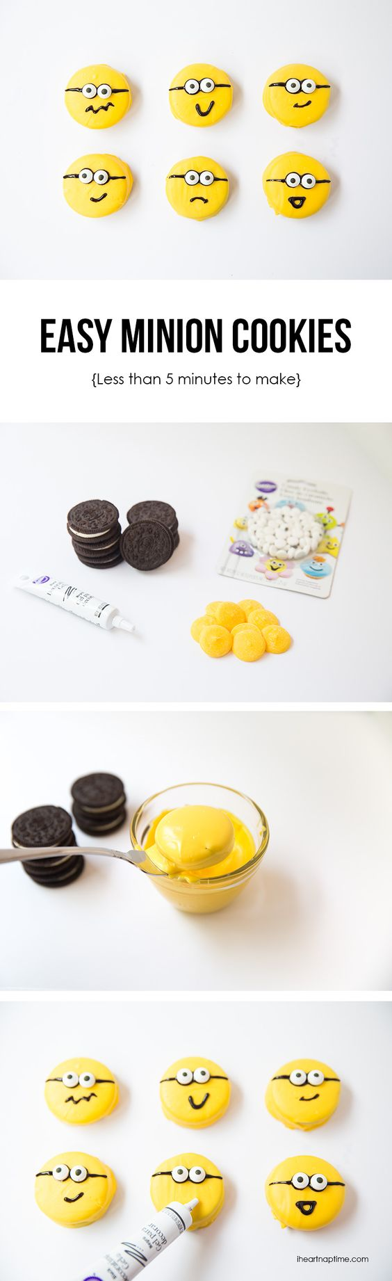 EASY chocolate covered Minion OREO cookies – made with 4 ingredients in 5 minutes or less! Click through for recipe!